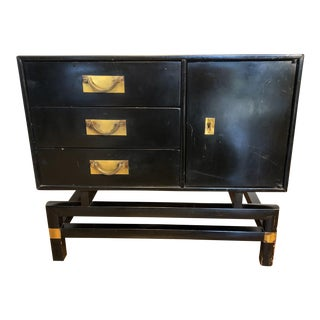 Hickory Mid-Century Modern Black Lacquer Side Table