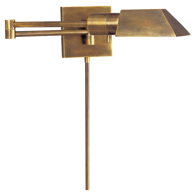 Brass Visual Comfort Swing Arm Wall Light in Hand-Rubbed Antique Brass With Matching Cord Cover For Sale - Image 8 of 8