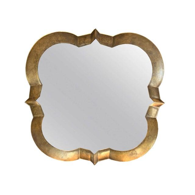 Burnished Gold Quatrefoil Mirror For Sale - Image 4 of 4