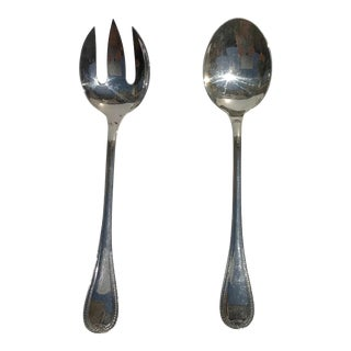 Christofle France Malmaison Pattern Silver Plated Spoon and Fork Serving Set Flat Wear - a Pair For Sale