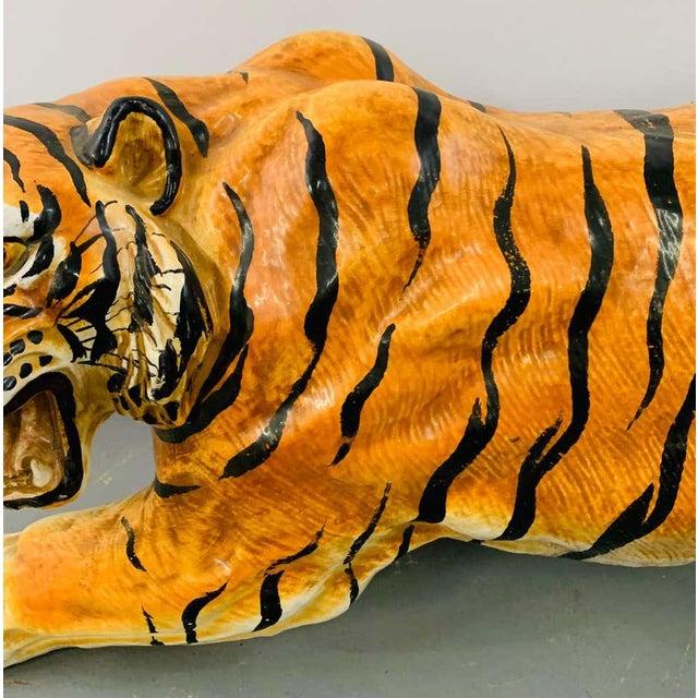 Ceramic Midcentury Italian Terracotta Tiger Statue or Sculpture For Sale - Image 7 of 12