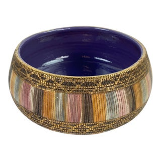 Bitossi Multi Color Pastel Seta Bowl With Gold Accents For Sale
