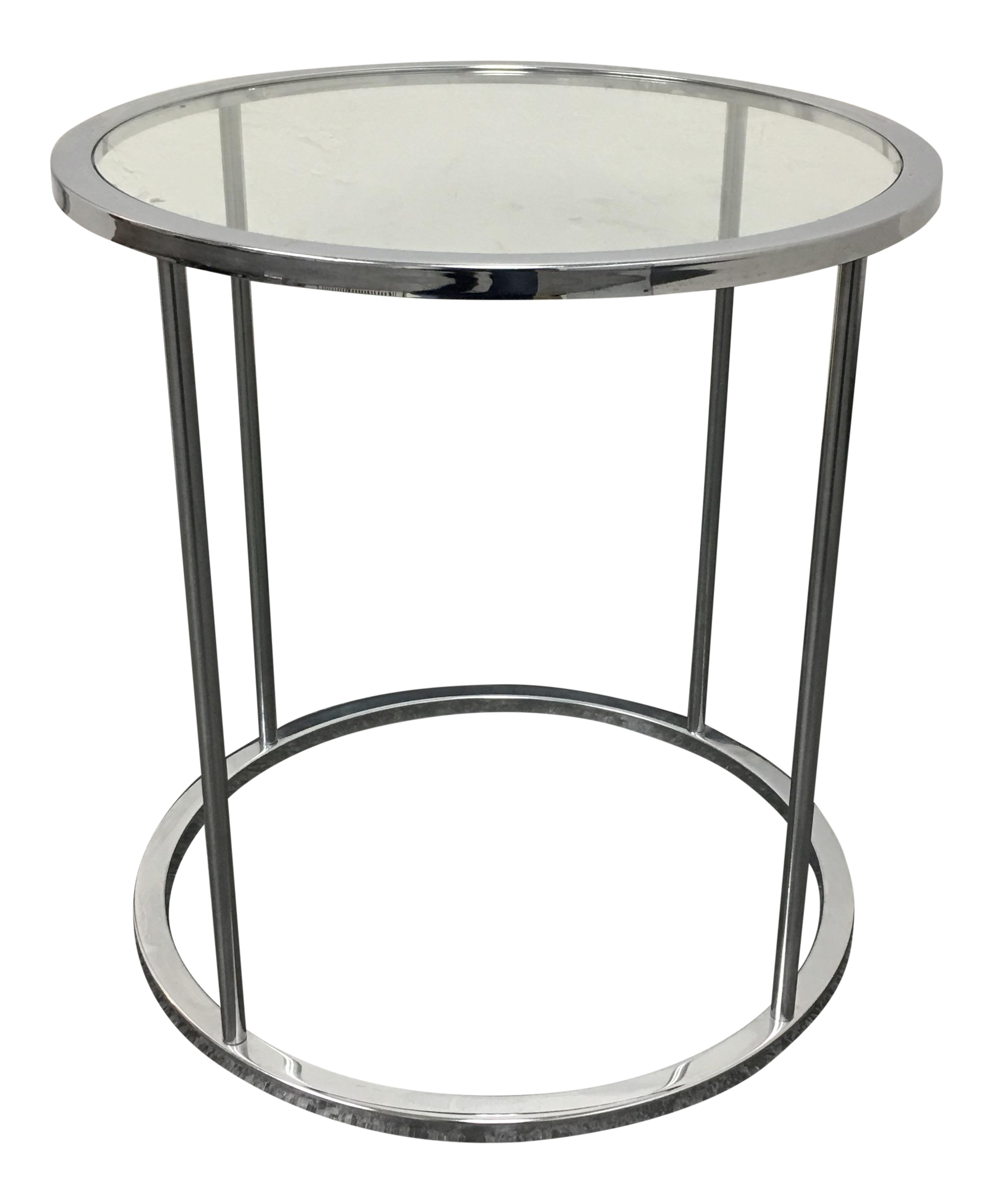 Great Mid Century Round Chrome U0026 Glass Side Table