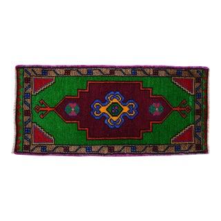 "1970s Hand Made Rug. Colorful Floral Oushak Rug, Bath Mat, Kitchen Sink Decor 1'6"" X 3'3"" For Sale"