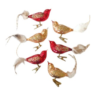 Blown Glass Bird Ornaments, Set of 6 For Sale