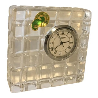 1990s Waterford Small Square Crystal Desk Clock For Sale
