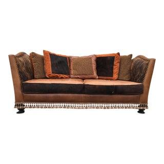 Custom Cowhide & Wood Sofa