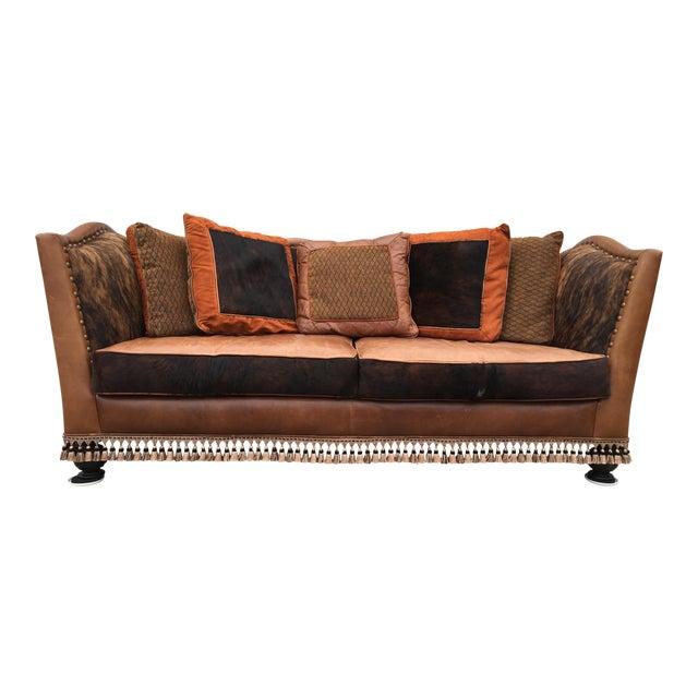 Custom Cowhide Wood Sofa For