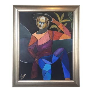 1980s Modern Cubism Figurative Painting
