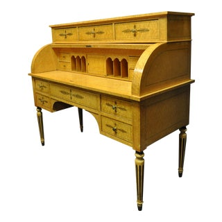 Biedermeier Cylinder-Top Bird's Eye Maple Desk