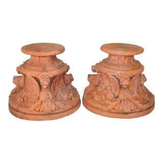 Vintage Figural Griffin Fiberglass Garden Pedestals - A Pair