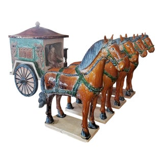 Ming Dynasty Style Horses and Carriage - Set of 5 For Sale