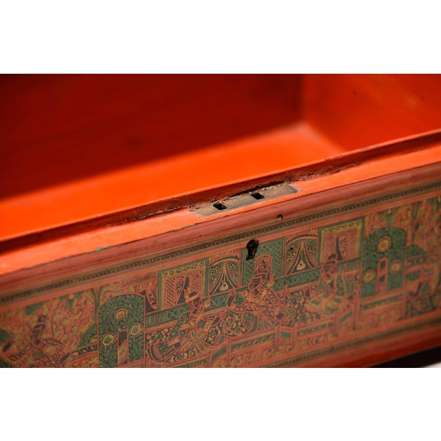 19th Century Asian Antique Extra Large Hand-Painted Red Burmese Lacquered Box For Sale - Image 5 of 11