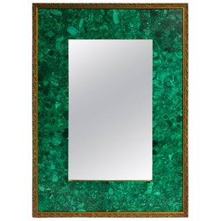 Burl Malachite Veneered Mirror For Sale