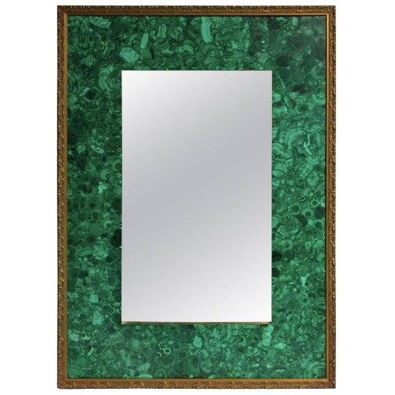 Burl Malachite Veneered Mirror For Sale