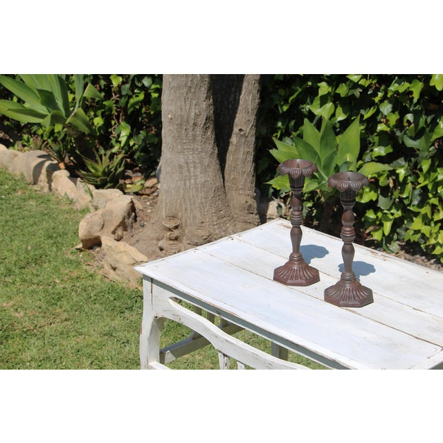 Antique Victorian Cast Iron Floral Candleholders - a Pair For Sale - Image 4 of 13