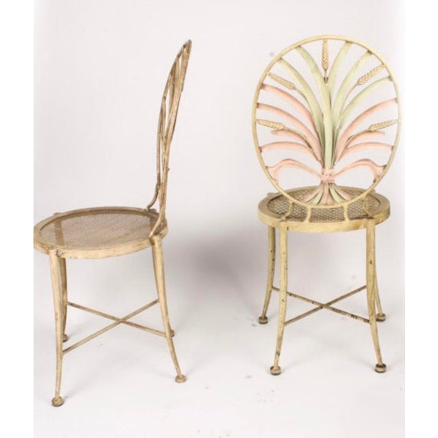 Vintage Wheat Themed Metal Chairs - a Pair - Image 7 of 9