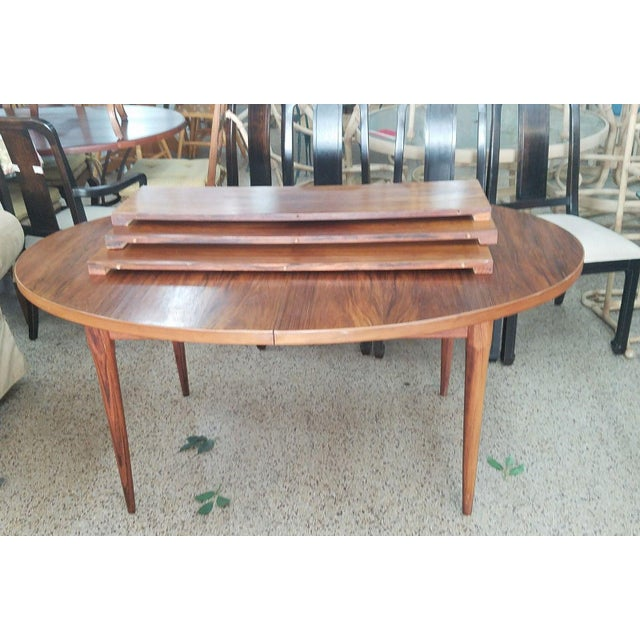 1960's Danish Mid-Century Modern Style Rosewood Dining Table For Sale - Image 4 of 12