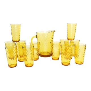 Mid Century Hazel Atlas Continental Can Amber Swirl Pitcher & Tumbler-15 Pc Set For Sale