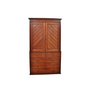 20th Century English Traditional Pine Linen Press Cabinet For Sale