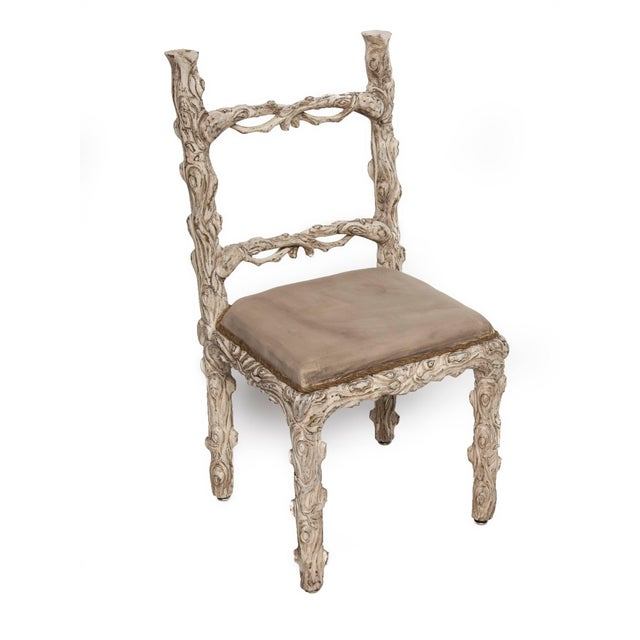 Rustic Set of Six Carved White Painted Wooden Chairs With a Faux Tree Trunk Design For Sale - Image 3 of 5