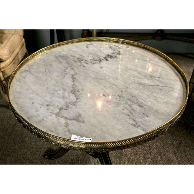 Russian Neoclassical Style Ebonized Centre Table Marble Top by Maison Jansen For Sale - Image 5 of 8