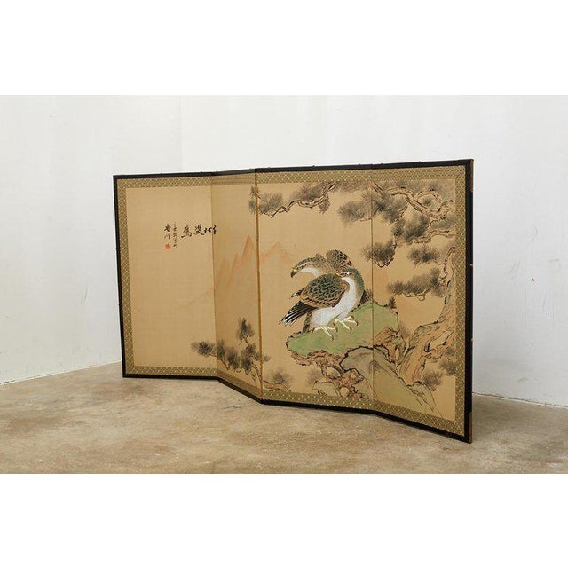 Japanese Four Panel Screen of Hawks in Pine Tree For Sale - Image 9 of 13