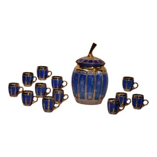 Bohemian Cobalt Cut To Clear Punch Bowl Set For Sale