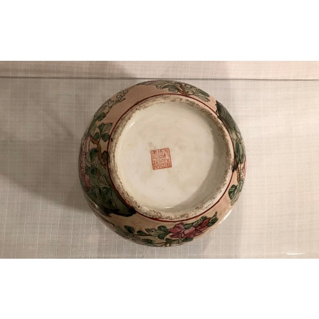 Mid 20th Century Vintage Chinoiserie Vase Floral and Bird Motif on a Peach Background For Sale - Image 5 of 6