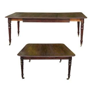 Antique English Mahogany Dining Table With Leaf For Sale