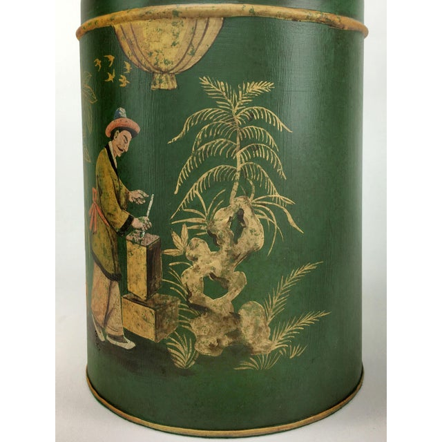 English Export Tea Caddy #4 Lamp Green Background With Gold Painted Accents For Sale - Image 4 of 6