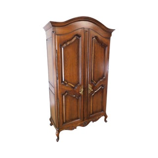 French Country Style Vintage Cherry Wood Armoire With Interior Drawers For Sale