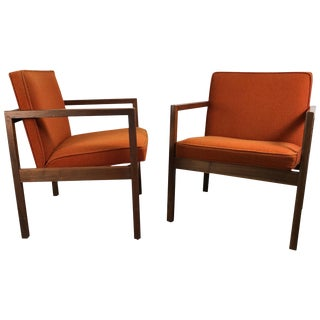 Mid-Century Solid Walnut Lounge Chairs by Stow Davis - A Pair For Sale