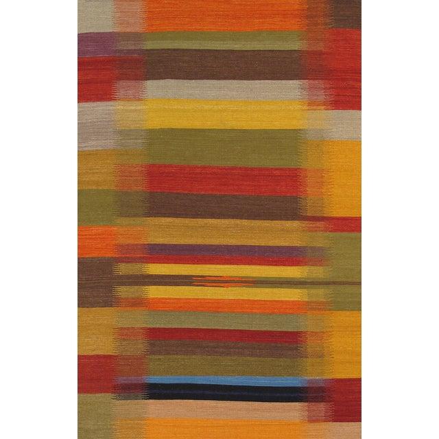 Modern Reversable Yellow Wool Kilim III - 5' x 8' - Image 2 of 2