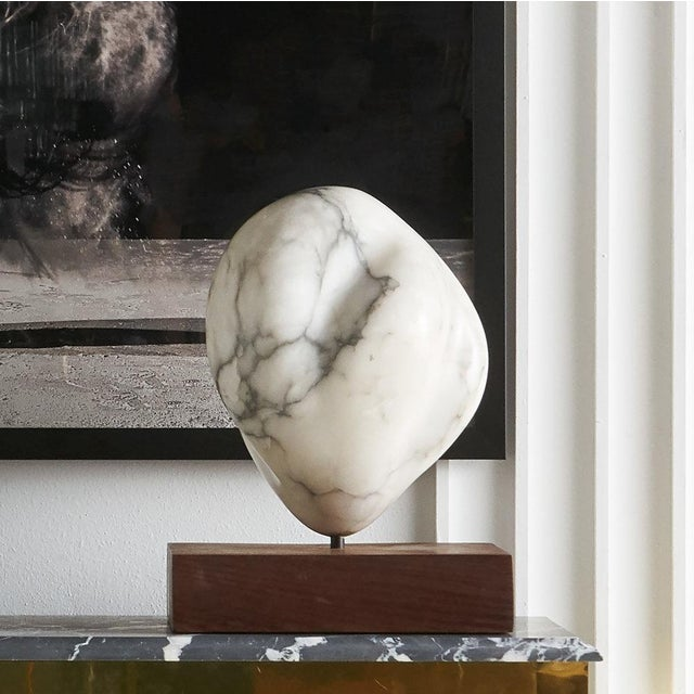 White Marble Sculpture on Wood Base For Sale - Image 11 of 11