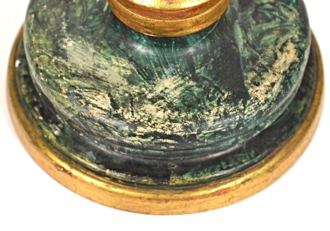 Neoclassical Faux Marble Gilt Wood Double Green Table Lamp   Image 3 Of 4