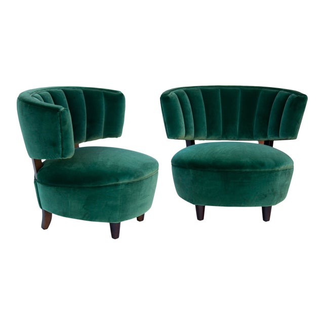 Pair of Emerald Green Velvet Channel Back Chairs After Billy Haines For Sale