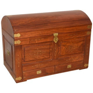 Anglo-Indian Teak Domed Camel-Back Trunk With Inset Brass and Hardware For Sale