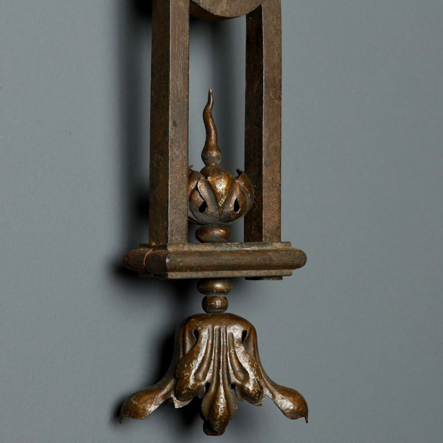 Late 19th Century Tall Iron Sconces Made from Antique Balustrades - a Pair For Sale - Image 5 of 9
