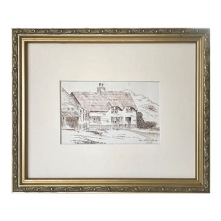 """Antique English Pen & Ink Drawing """"Near Athertons"""" C.1900 For Sale"""