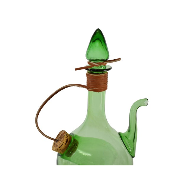 Late 20th Century Vintage Hand Blown Italian Green Glass Wine Decanter Carafe With Ice Chamber Chiller and Stoppers For Sale - Image 5 of 7