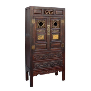 Chinese Fujian Brown Golden Carving Graphic Armoire Storage Cabinet Preview
