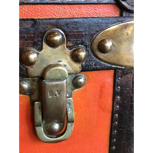 Rare Louis Vuitton Orange Trunk With Initials m.o.r, Circa 1930s For Sale - Image 9 of 13