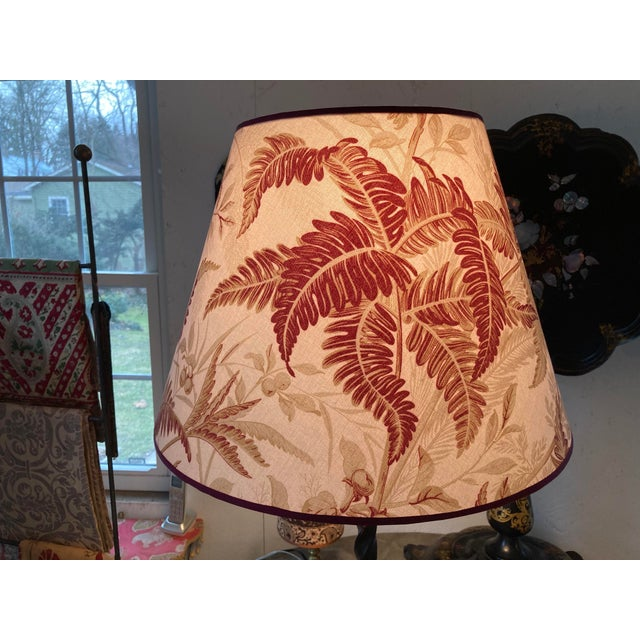Not Yet Made - Made To Order Red and Green Fern Botanical Print Lampshade For Sale - Image 5 of 6