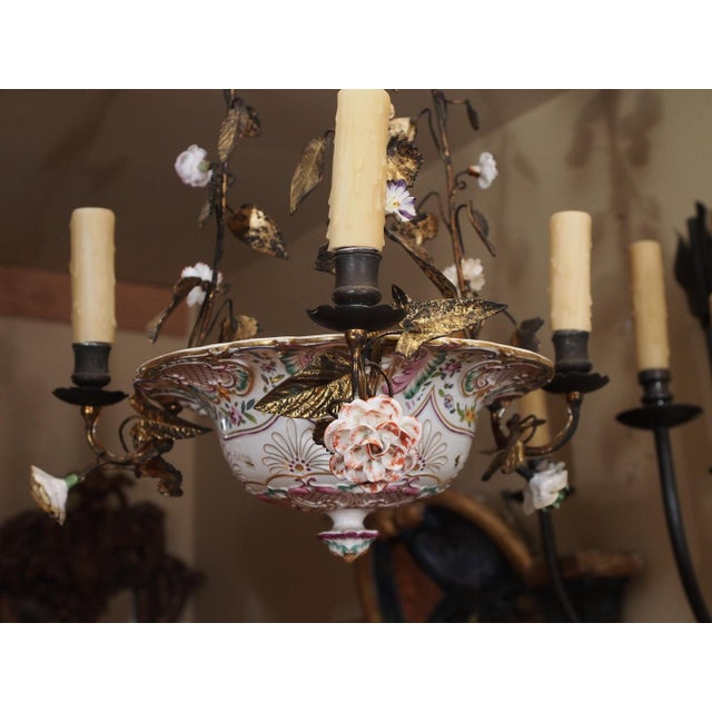 Antique French Porcelain Chandelier For Sale - Image 4 of 7
