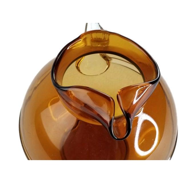 Mid 20th Century Mid-Century Modern Amber Art Glass Hand Blown Iced Tea Lemonade Set - Set of 6 For Sale - Image 5 of 9