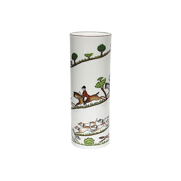Late 20th Century English Hunting Scene Flower Vase For Sale - Image 5 of 5