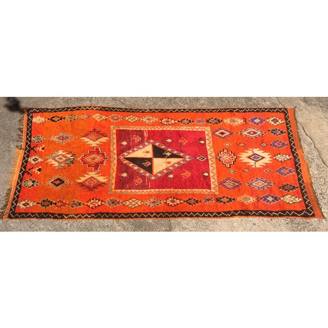 """A Very Old Fine and Rare Vintage Orange Moroccan Azilal Rug - 4'2"""" X 10' - Image 2 of 5"""