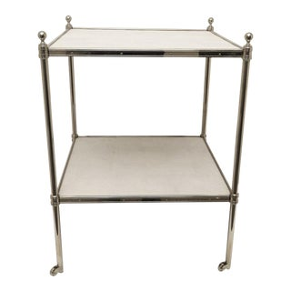 2-Tier Side Table in Nickel Plated Brass and Faux Shagreen For Sale