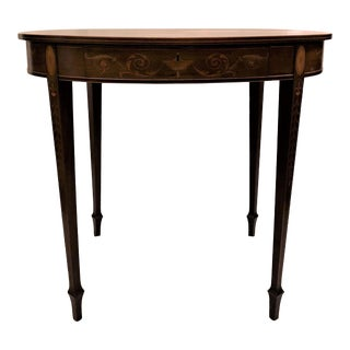 Antique English Sheraton Satinwood and Mahogany Occasional Table. For Sale